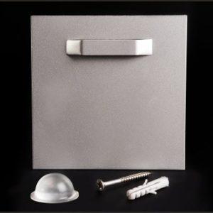 Bildbefestigung   Acrylglasbild Halter für Bilder mit Wandpuffer selbstklebend bis 6 kg 100x100 mm Lieferumfang: Montageblech mi