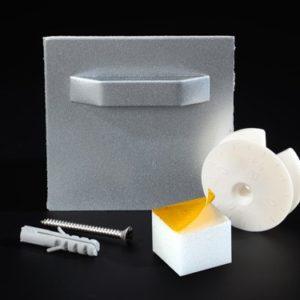 Bildbefestigung   Acrylglasbild Bildaufhängung Puffer selbstkleb Exzenterscheibe bis 3 kg 70x70mm Lieferumfang: Glasplatten Mont