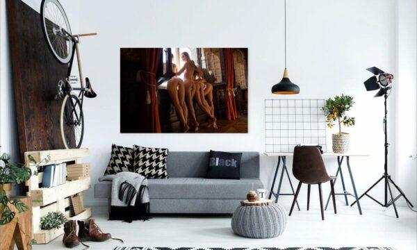 Künstlerische exklusiv Aktfoto Poster nackte Frau Acrylglasbild A137, Wandbild PlumaArt