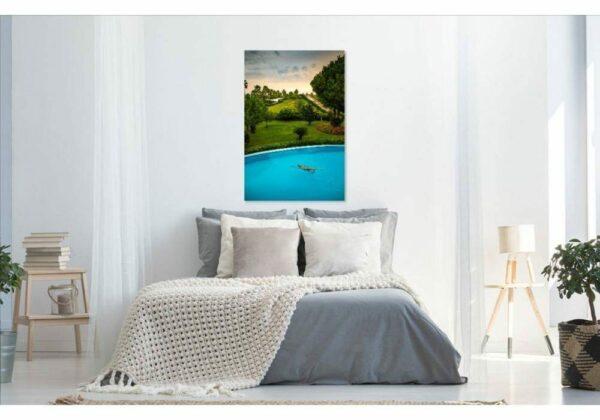 Premium Wandbild Poster Acrylbild PlumaArt hübsche Frau Pool Bali Urlaub A232F, Wandbild PlumaArt