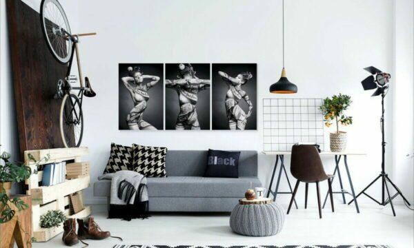 "3 teilige 120×60 cm Premium Poster Frau Akt Erotik ""nichts sehen hören sagen"", Wandbild PlumaArt"